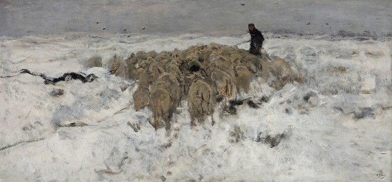 油絵 油彩画 絵画 複製画 アントン・モーヴ 雪の中の羊飼いと羊の群れ  F10サイズ F10号  530x455mm すぐに飾れる豪華額縁付きキャンバス