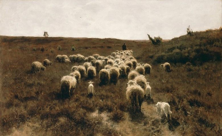 油絵 アントン・モーヴ 帰宅する羊の群れ  M12サイズ M12号  606x410mm 油彩画 絵画 複製画 選べる額縁 選べるサイズ