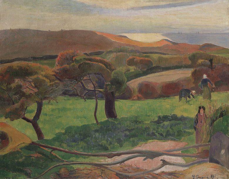 油絵 油彩画 絵画 複製画  ポール・ゴーギャン ブルターニュからの風景  F10サイズ F10号  530x455mm すぐに飾れる豪華額縁付きキャンバス