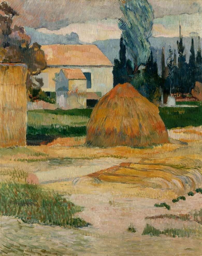 油絵 油彩画 絵画 複製画  ポール・ゴーギャン アルル近くの風景  F10サイズ F10号  530x455mm すぐに飾れる豪華額縁付きキャンバス