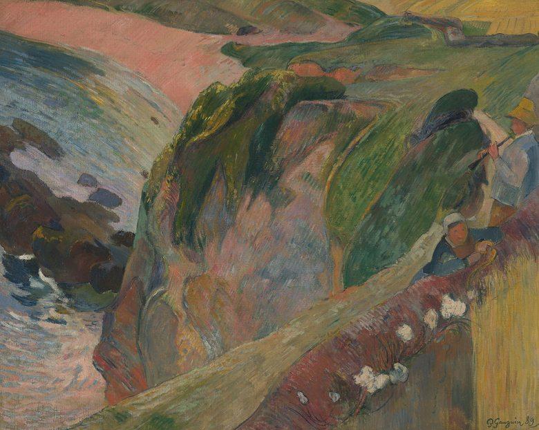 油絵 油彩画 絵画 複製画  ポール・ゴーギャン 崖の上のフラジオレット演奏者  F10サイズ F10号  530x455mm すぐに飾れる豪華額縁付きキャンバス