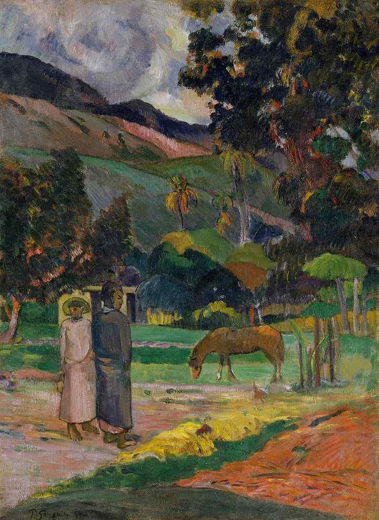 油絵 油彩画 絵画 複製画  ポール・ゴーギャン タヒチの風景  P10サイズ P10号  530x410mm すぐに飾れる豪華額縁付きキャンバス
