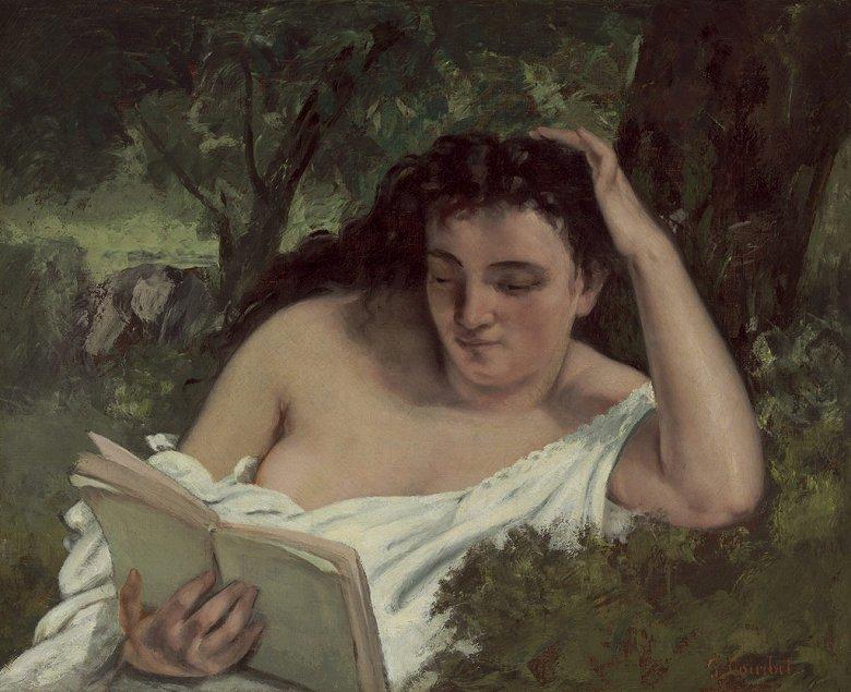 油絵 ギュスターヴ・クールベ 読書する女  F12サイズ F12号  606x500mm 油彩画 絵画 複製画 選べる額縁 選べるサイズ