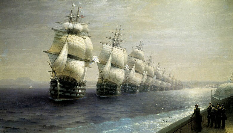 油絵 イヴァン・アイヴァゾフスキー 黒海艦隊のパレード  F12サイズ F12号  606x500mm 油彩画 絵画 複製画 選べる額縁 選べるサイズ