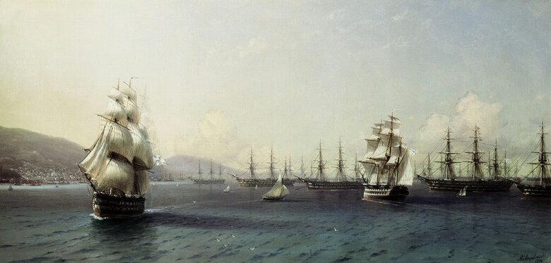 油絵 イヴァン・アイヴァゾフスキー テオドシア湾の黒海艦隊  F12サイズ F12号  606x500mm 油彩画 絵画 複製画 選べる額縁 選べるサイズ