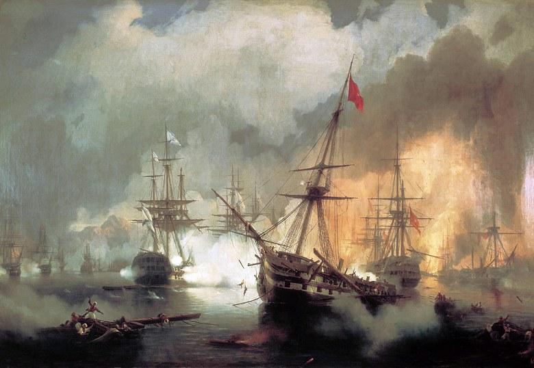 油絵 イヴァン・アイヴァゾフスキー ナヴァリノの海戦  P12サイズ P12号  606x455mm 油彩画 絵画 複製画 選べる額縁 選べるサイズ