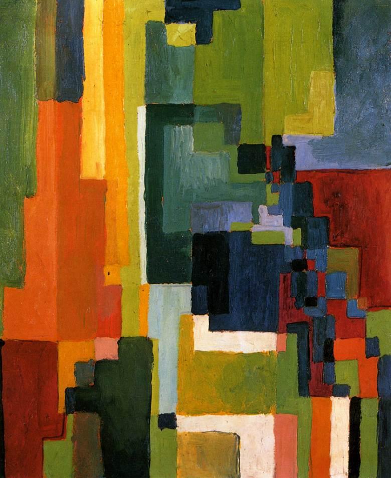 油絵 アウグスト・マッケ 色彩のフォルムII  F12サイズ F12号  606x500mm 油彩画 絵画 複製画 選べる額縁 選べるサイズ