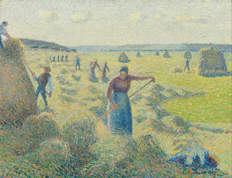 油絵 カミーユ・ピサロ エラニーの干草収穫  F12サイズ F12号  606x500mm 油彩画 絵画 複製画 選べる額縁 選べるサイズ