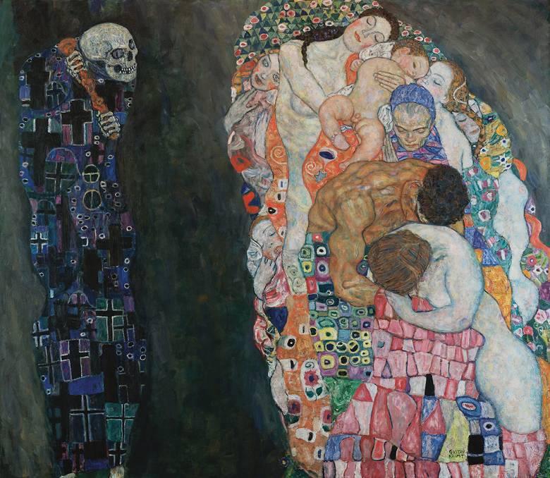 油絵 グスタフ・クリムト 死と生  F12サイズ F12号  606x500mm 油彩画 絵画 複製画 選べる額縁 選べるサイズ