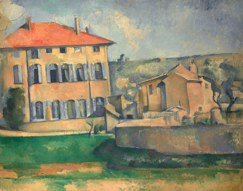 油絵 油彩画 絵画 複製画  ポール・セザンヌ ジャズ・ド・ブッファンの家と農地  F10サイズ F10号  530x455mm すぐに飾れる豪華額縁付きキャンバス