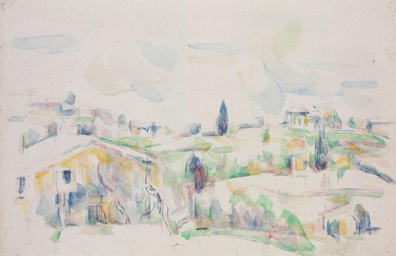 油絵 油彩画 絵画 複製画  ポール・セザンヌ プロヴァンスの風景  M10サイズ M10号  530x333mm すぐに飾れる豪華額縁付きキャンバス
