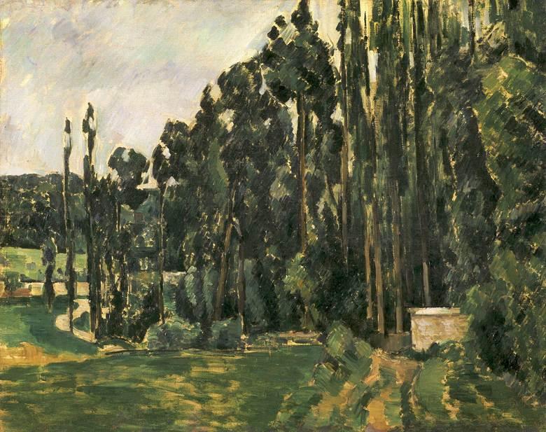 油絵 油彩画 絵画 複製画  ポール・セザンヌ ポプラ  F10サイズ F10号  530x455mm すぐに飾れる豪華額縁付きキャンバス