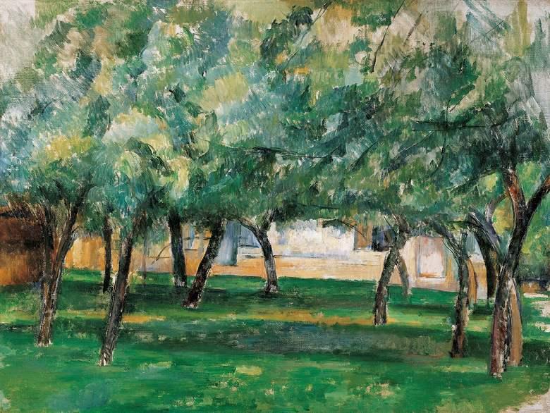 油絵 油彩画 絵画 複製画  ポール・セザンヌ ノルマンディの農地  P10サイズ P10号  530x410mm すぐに飾れる豪華額縁付きキャンバス