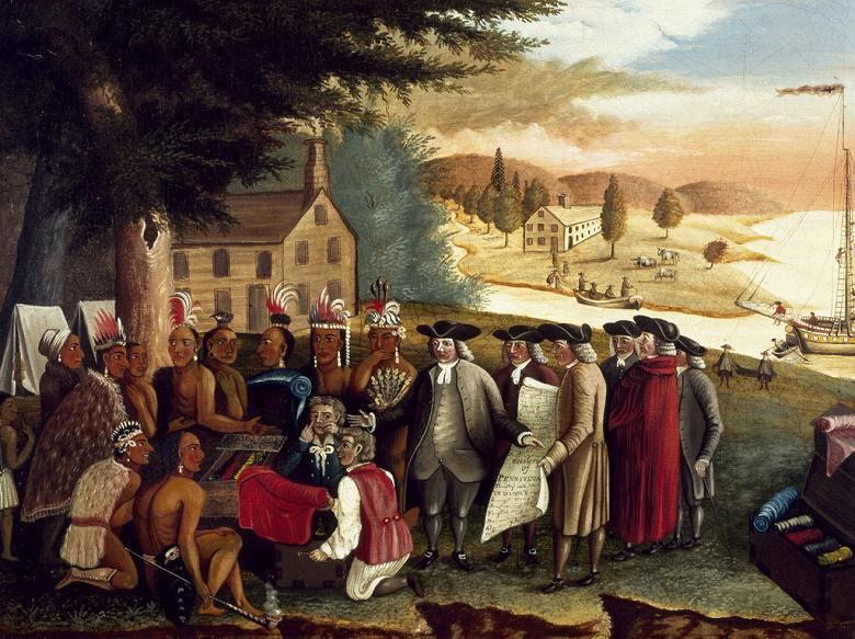 油絵 エドワード・ヒックス インディアンとペンの条約  P12サイズ P12号  606x455mm 油彩画 絵画 複製画 選べる額縁 選べるサイズ