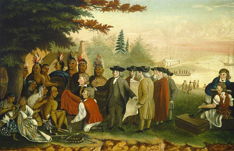 油絵 エドワード・ヒックス インディアンとペンの条約  M12サイズ M12号  606x410mm 油彩画 絵画 複製画 選べる額縁 選べるサイズ