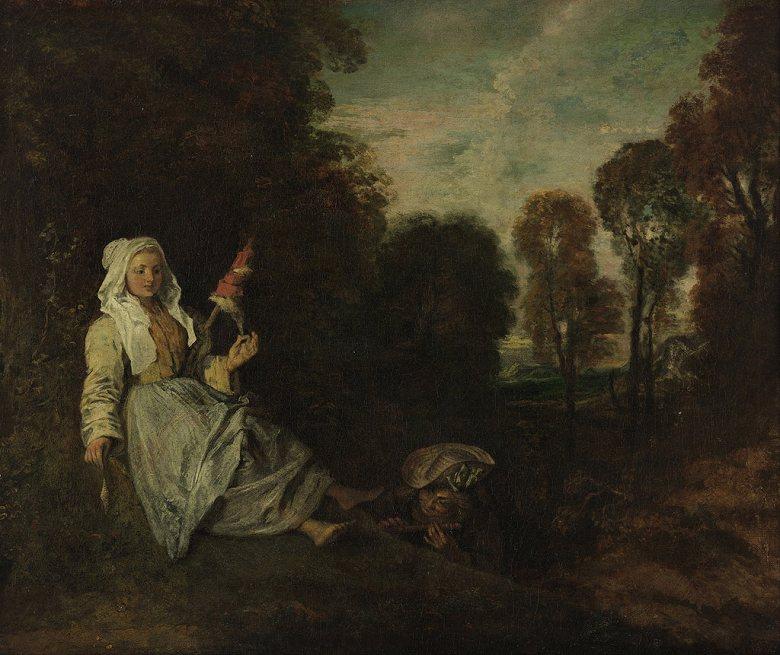油絵 アントワーヌ・ヴァトー 糸紡ぎの女と夕暮れの風景  F12サイズ F12号  606x500mm 油彩画 絵画 複製画 選べる額縁 選べるサイズ