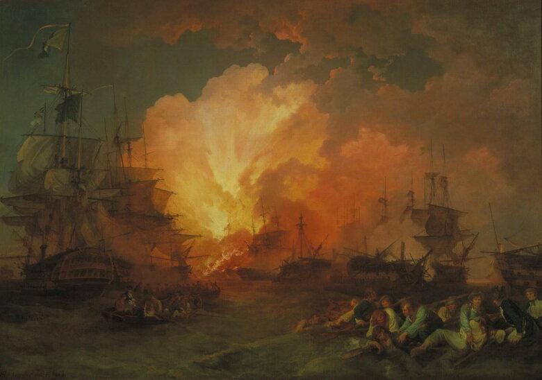 絵画 インテリア 額入り 壁掛け 油絵 フィリップ・ジェイムズ・ド・ラウザーバーグ ナイルの海戦  P15サイズ P15号  652x500mm 油彩画 複製画 選べる額縁 選べるサイズ