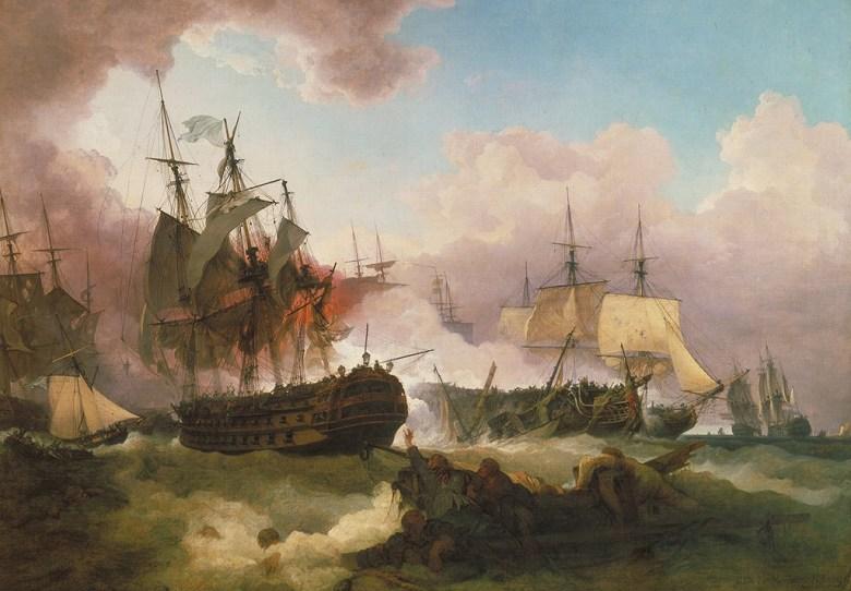 絵画 インテリア 額入り 壁掛け 油絵 フィリップ・ジェイムズ・ド・ラウザーバーグ キャンパーダウンの海戦  P15サイズ P15号  652x500mm 油彩画 複製画 選べる額縁 選べるサイズ