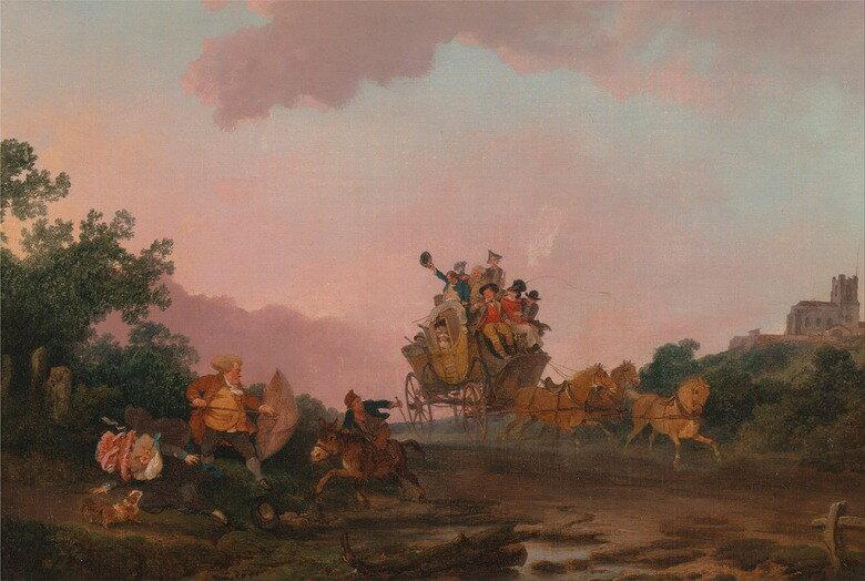 絵画 インテリア 額入り 壁掛け 油絵 フィリップ・ジェイムズ・ド・ラウザーバーグ 馬車で酒盛りする人々  P15サイズ P15号  652x500mm 油彩画 複製画 選べる額縁 選べるサイズ