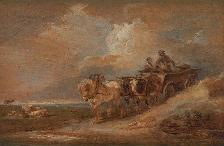 絵画 インテリア 額入り 壁掛け 油絵 フィリップ・ジェイムズ・ド・ラウザーバーグ 馬と牛の荷車  M15サイズ M15号  652x455mm 油彩画 複製画 選べる額縁 選べるサイズ