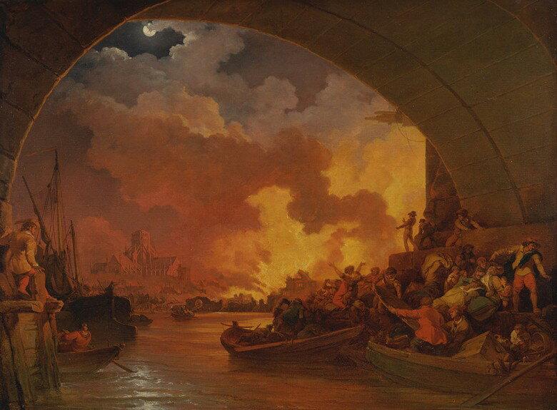 油絵 フィリップ・ジェイムズ・ド・ラウザーバーグ ロンドン大火  P12サイズ P12号  606x455mm 油彩画 絵画 複製画 選べる額縁 選べるサイズ