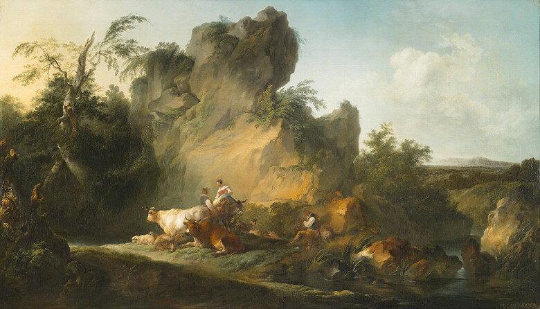 油絵 油彩画 絵画 複製画 フィリップ・ジェイムズ・ド・ラウザーバーグ 人物と動物のいる風景  F10サイズ F10号  530x455mm すぐに飾れる豪華額縁付きキャンバス