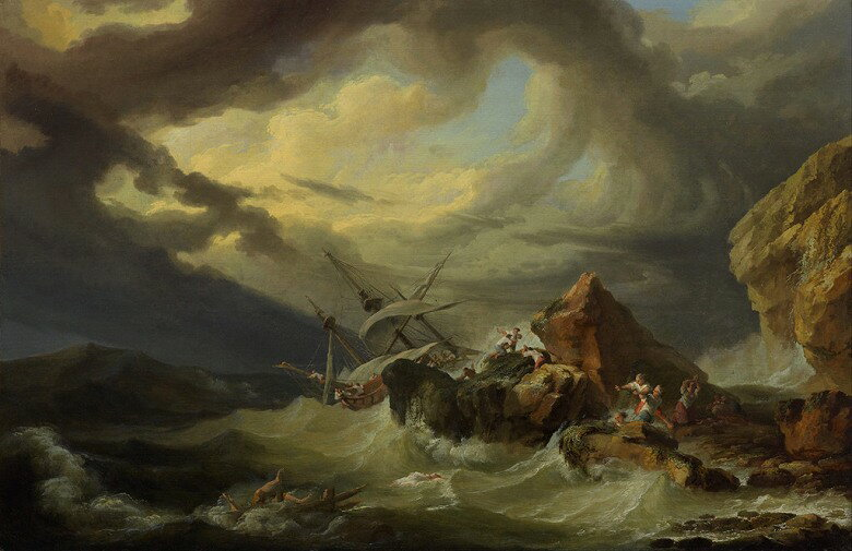 油絵 油彩画 絵画 複製画 フィリップ・ジェイムズ・ド・ラウザーバーグ 岩石海岸での難破船  M10サイズ M10号  530x333mm すぐに飾れる豪華額縁付きキャンバス