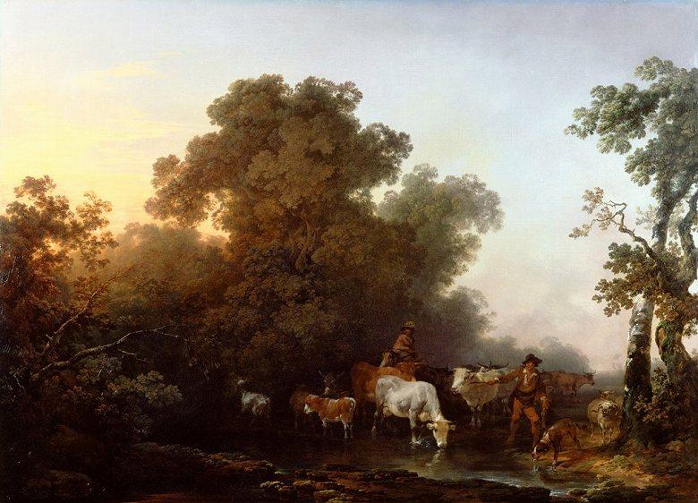 油絵 油彩画 絵画 複製画 フィリップ・ジェイムズ・ド・ラウザーバーグ 牛と人物のいる風景  P10サイズ P10号  530x410mm すぐに飾れる豪華額縁付きキャンバス