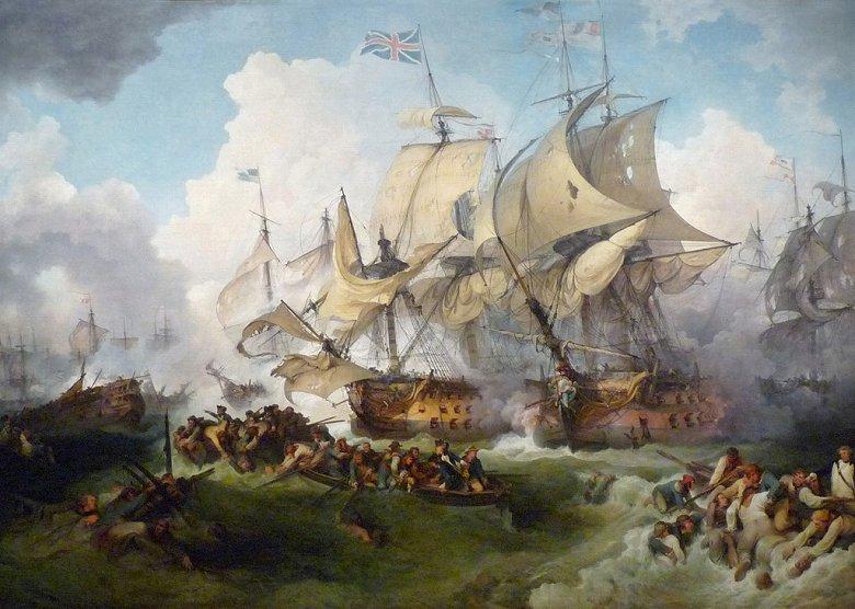 油絵 フィリップ・ジェイムズ・ド・ラウザーバーグ ハウ卿の戦い(栄光の6月1日)  P12サイズ P12号  606x455mm 油彩画 絵画 複製画 選べる額縁 選べるサイズ