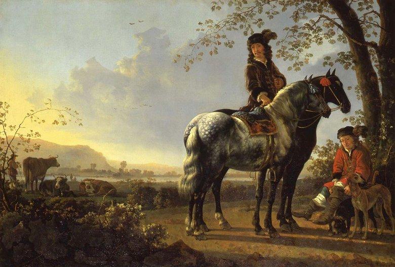 油絵 アルベルト・カイプ 休憩する騎手たちのいる風景  P12サイズ P12号  606x455mm 油彩画 絵画 複製画 選べる額縁 選べるサイズ