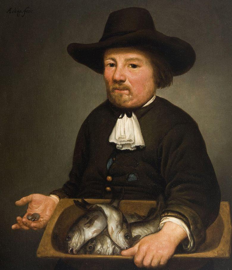 油絵 アルベルト・カイプ 魚の籠を持った男性  F12サイズ F12号  606x500mm 油彩画 絵画 複製画 選べる額縁 選べるサイズ