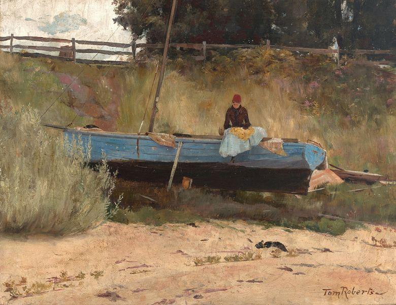油絵 油彩画 絵画 複製画 トム・ロバーツ 浜辺の船、クイーンズクリフ  F10サイズ F10号  530x455mm すぐに飾れる豪華額縁付きキャンバス