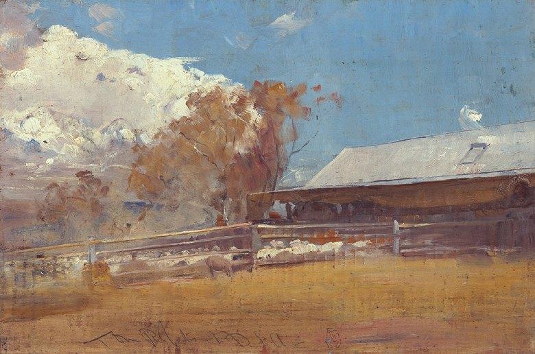 油絵 油彩画 絵画 複製画 トム・ロバーツ 毛刈り小屋、ニューステッド  M10サイズ M10号  530x333mm すぐに飾れる豪華額縁付きキャンバス
