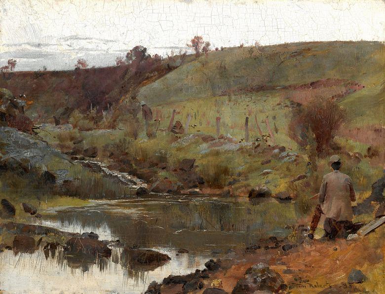 油絵 油彩画 絵画 複製画 トム・ロバーツ 小川での静かな一日  F10サイズ F10号  530x455mm すぐに飾れる豪華額縁付きキャンバス