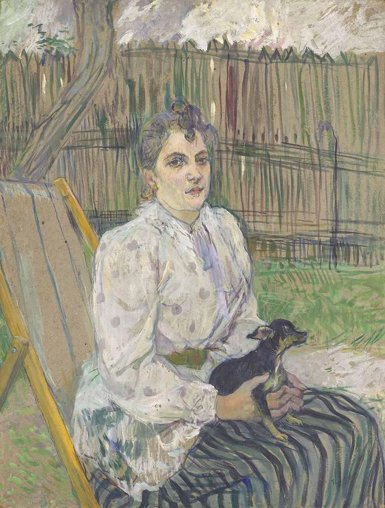 油絵 アンリ・ド・トゥールーズ=ロートレック 犬といる貴婦人  P12サイズ P12号  606x455mm 油彩画 絵画 複製画 選べる額縁 選べるサイズ