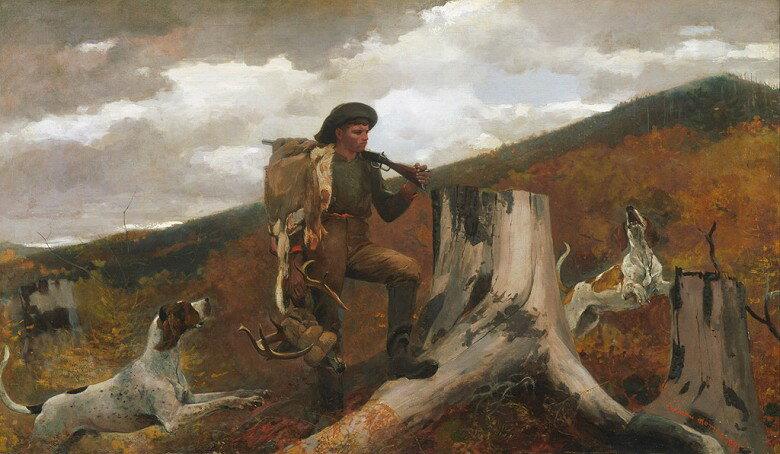 油絵 ウィンスロー・ホーマー 狩人と犬  F12サイズ F12号  606x500mm 油彩画 絵画 複製画 選べる額縁 選べるサイズ