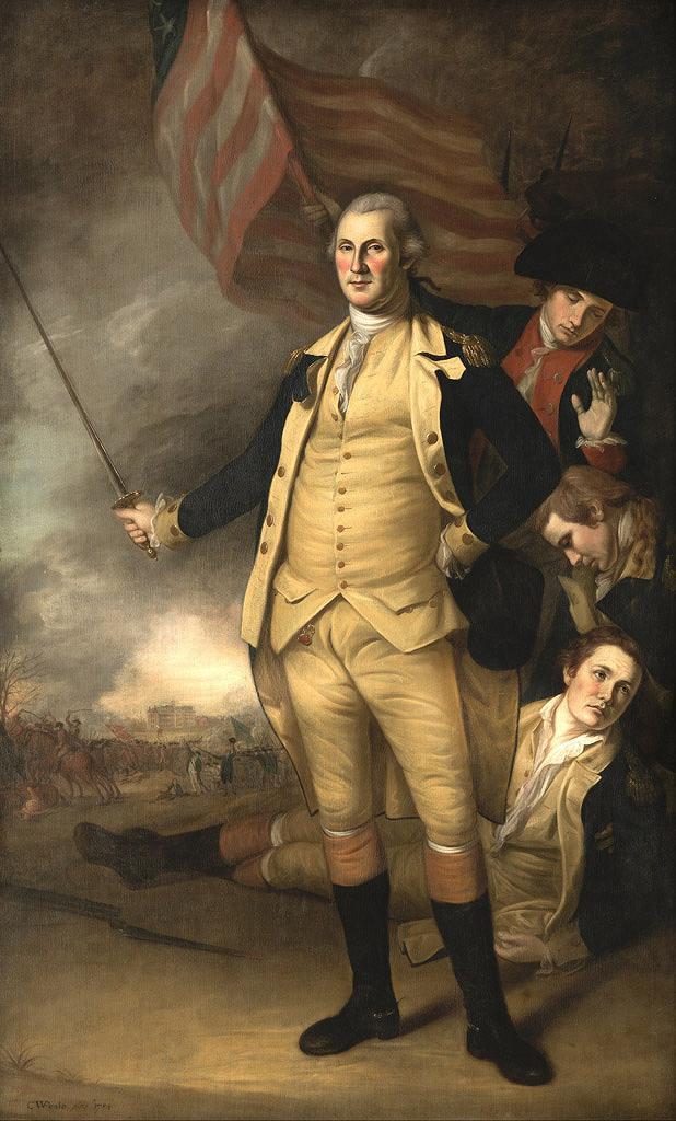 油絵 チャールズ・ウィルソン・ピール プリンストンの戦いでのジョージ・ワシントン  M12サイズ M12号  606x410mm 油彩画 絵画 複製画 選べる額縁 選べるサイズ