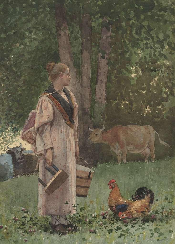 油絵 ウィンスロー・ホーマー 牛乳を搾る女性  P12サイズ P12号  606x455mm 油彩画 絵画 複製画 選べる額縁 選べるサイズ