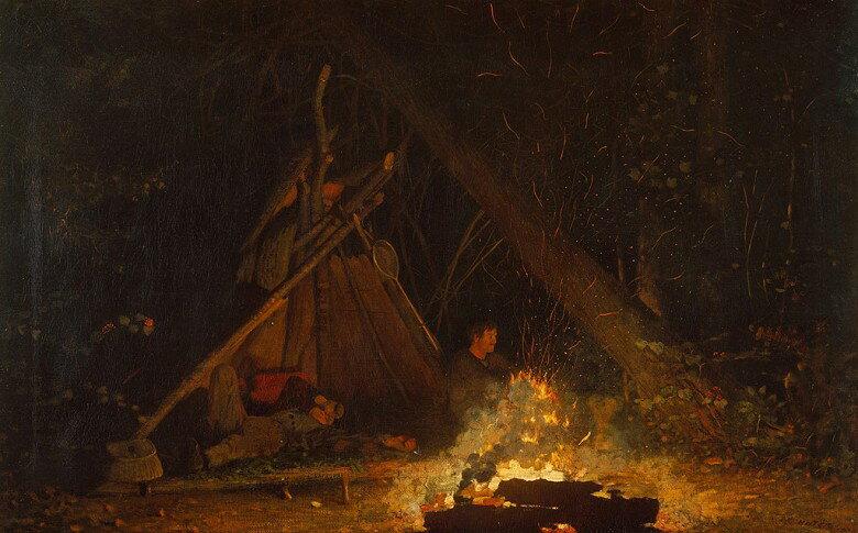 油絵 ウィンスロー・ホーマー キャンプファイヤー  M12サイズ M12号  606x410mm 油彩画 絵画 複製画 選べる額縁 選べるサイズ