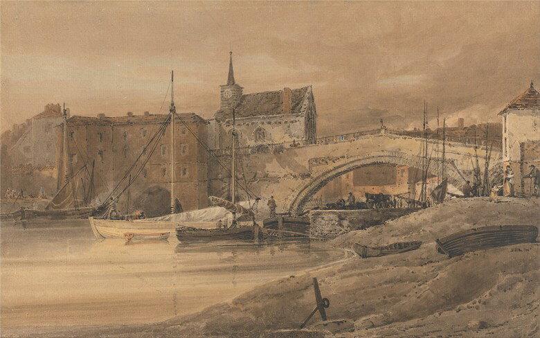 油絵 油彩画 絵画 複製画 トーマス・ガーティン ウーズ橋、ヨーク  M10サイズ M10号  530x333mm すぐに飾れる豪華額縁付きキャンバス
