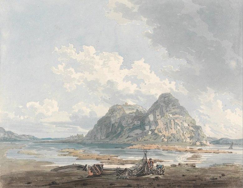 油絵 油彩画 絵画 複製画 トーマス・ガーティン ダンバートンの岩と城  F10サイズ F10号  530x455mm すぐに飾れる豪華額縁付きキャンバス