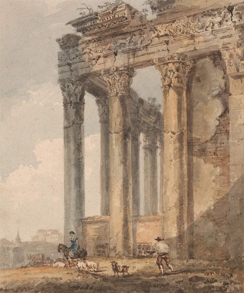 油絵 油彩画 絵画 複製画 トーマス・ガーティン アントニヌス・ピウスとファウスティナ神殿  F10サイズ F10号  530x455mm すぐに飾れる豪華額縁付きキャンバス