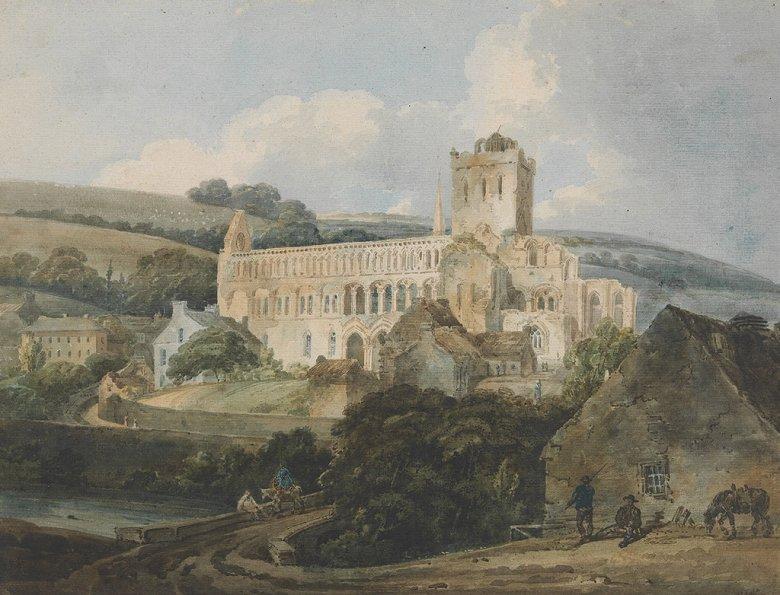 油絵 油彩画 絵画 複製画 トーマス・ガーティン ジェドバラ修道院  F10サイズ F10号  530x455mm すぐに飾れる豪華額縁付きキャンバス