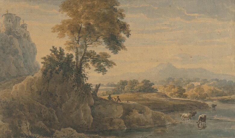 油絵 油彩画 絵画 複製画 トーマス・ガーティン ロマンチックな風景  F10サイズ F10号  530x455mm すぐに飾れる豪華額縁付きキャンバス