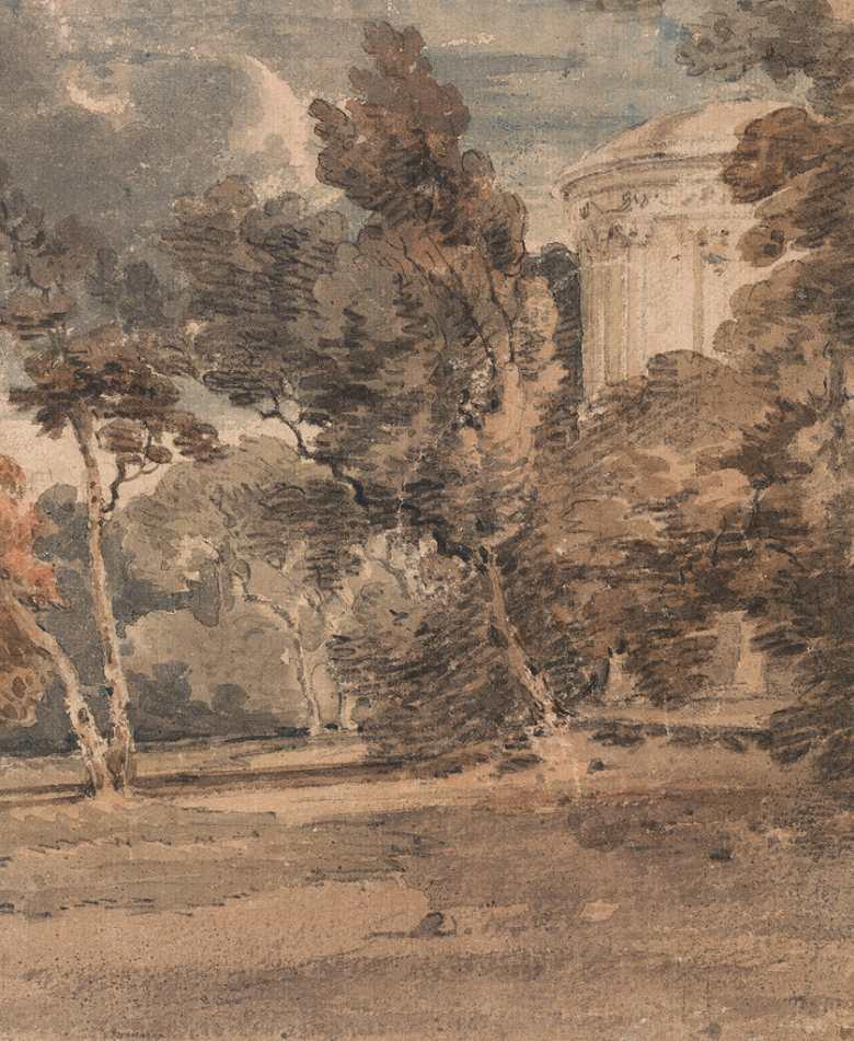 油絵 油彩画 絵画 複製画 トーマス・ガーティン ヘアウッド公園の神殿  F10サイズ F10号  530x455mm すぐに飾れる豪華額縁付きキャンバス