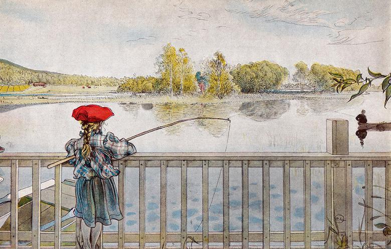 油絵 カール・ラーション 魚釣りをするリスベス  M12サイズ M12号  606x410mm 油彩画 絵画 複製画 選べる額縁 選べるサイズ
