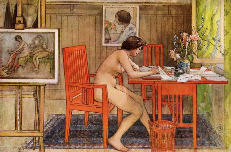 油絵 カール・ラーション ポストカードを書くモデル  M12サイズ M12号  606x410mm 油彩画 絵画 複製画 選べる額縁 選べるサイズ