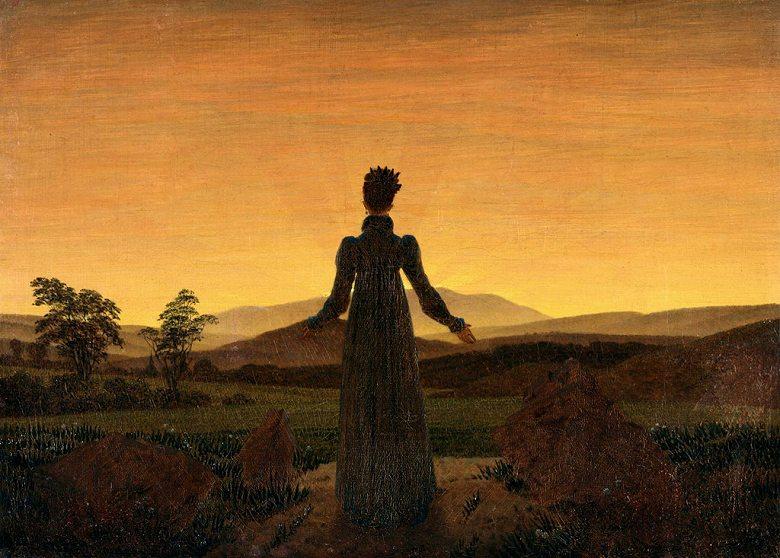 油絵 カスパー・ダーヴィト・フリードリヒ 日の出に立つ女性  P12サイズ P12号  606x455mm 油彩画 絵画 複製画 選べる額縁 選べるサイズ