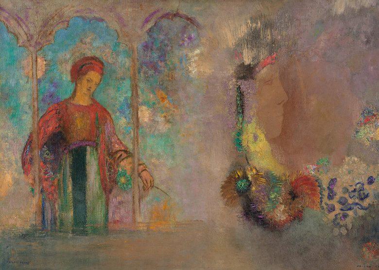 油絵 オディロン・ルドン 女性と花  P12サイズ P12号  606x455mm 油彩画 絵画 複製画 選べる額縁 選べるサイズ