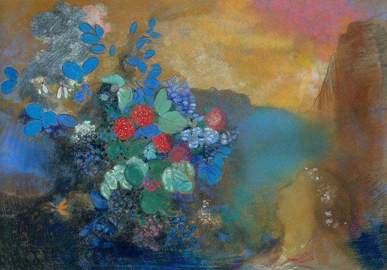 油絵 オディロン・ルドン 花の中のオフィーリア  P12サイズ P12号  606x455mm 油彩画 絵画 複製画 選べる額縁 選べるサイズ
